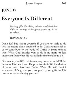 Everyone is different. That's how god created us