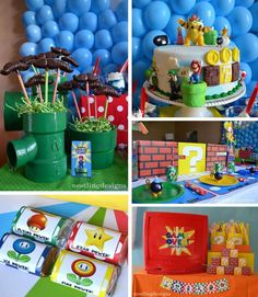 Super Mario Themed 7th Birthday Party Blue Green Red Kids Theme Boy