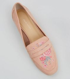246ddecdaf9 Wide Fit Pink Suedette Embroidered Loafers