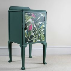 Unique Upcycled Vintage Cabinet/Cupboard/Nightstand With Cabriole Style Legs and Tropical Design