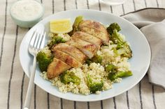 Cool winter weather calls for bright flavors, and tonight's Mediterranean-inspired chicken dish delivers. We're serving our juicy chicken on a bed of fluffy couscous, mixed with sautéed broccoli for plenty of nutty sweetness. It all comes together with a drizzle of citrusy yogurt sauce—made by seasoning creamy Greek yogurt with the bright juice and fruity zest of Meyer lemon.