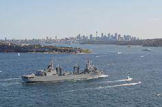 Spanish Armada Fleet Replenishment Ship ESPS Cantabria entering Sydney Harbour in October 2013