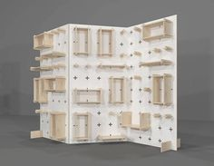 Display Pegboard, Modern Plywood Wall Peg, Display Shelf, Open Shelving, Office Shelves, Plywood Stand