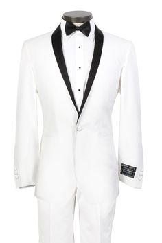 2013 Custom Made White wedding Tuxedo for men with Black Shawl Lapel and 1 Button Front- Includes White Trousers+jacket+Tie on on Suzhou Itailor wedding Ltd. $189.00