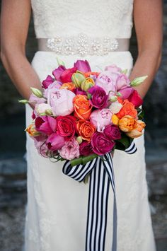Love the colors and striped ribbon
