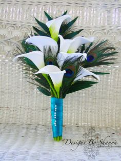 Calla Lily and Peacock Feather Bridal Bouquet by shanynihrke, $120.00  For the bridesmaids