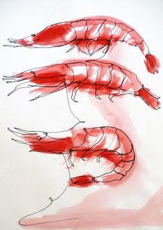ARTFINDER: 1 Line Prawns by Art as you Go - The 1 continuous line is a very innovative, experimental and rather difficult to execute technique, where the chosen tool (in this case an ink marker) create...