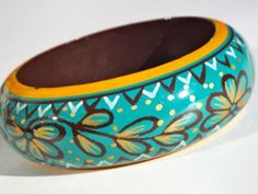 Turquoise Hand Painted Wooden Bangle , bangle,  bracelet,  blue bracelet,  wood bracelet,  bohemian bangle http://ragsexchange.com/products/turquoise-hand-painted-wooden-bangle/121
