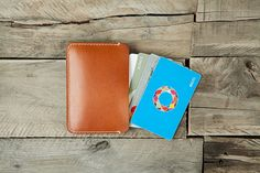 3662 One Pocket Card Holder Vegetable Leather by HEVITZ on Etsy