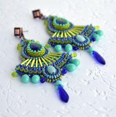 Bead embroidery Earrings-long earrings beadwork by suzidesign