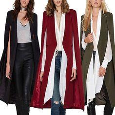 Women's Casual Long Cloak Jacket Trench Coat Jacket Outwear Cape Cardigan Blazer  | eBay