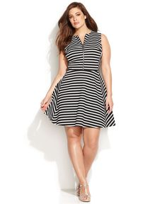 MICHAEL Michael Kors Plus Size Sleeveless Striped A-Line Dress - Plus Size Dresses - Plus Sizes - Macy's