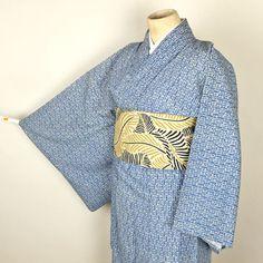 Blue komon kimono /【小紋】青色竹立涌花柄単衣小紋名古屋帯付き