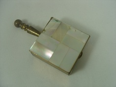 Vintage mother of pearl pill box with handle