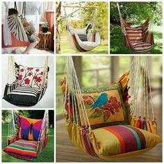 DIY hammock chair ,perfect for relaxing or reading on rainy days . diy hammock chair - Daily Home Decorations Hammock Diy, Hammock Swing, Hammock Chair, Hammocks, Chaise Chair, Crochet Hammock, Bedroom Hammock, Hammock Ideas, Yard Swing