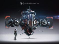 Surveyor EXVII Drop Ship, Igor Sobolevsky on ArtStation at https://www.artstation.com/artwork/surveyor-exvii-drop-ship