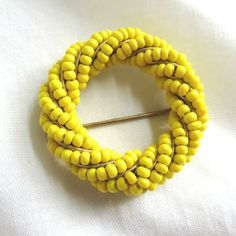 Vintage Hand Wired Yellow Seed Beads Circle Brooch by MyVintageJewels, $20.00