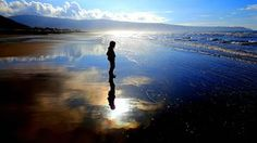 My daughter on Barmouth beach in Wales.