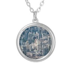 Twilight Shanghai city China aerial view Silver Plated Necklace - jewelry jewellery unique special diy gift present