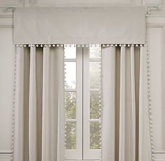 When you add window treatments to it will transform that room. When you add details to a window treatment whether you are creating custom drapes or embellishing some ready made ones it totally ele… Drapery Panels, Curtains With Blinds, Valances, White Curtains, Fringe Curtains, Cornices, Pom Pom Curtains, Neutral Curtains, Cotton Curtains
