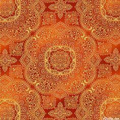 Majesty - Royal Paisley Medallions - Cinnamon/Gold