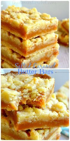 Salted Caramel Butter Bars are gooey, ultra buttery cookie bars loaded with rich salted caramel. So divine! #caramel #saltedcaramel #cookies