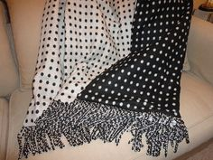 Classic Sophisticated Black and White Polka Dot Wool by AlexsAttic