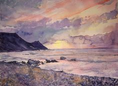 Watercolour painting ' February sunset '