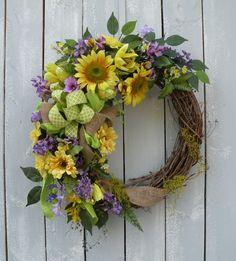 Sunflower Wreath Summer Wreath Burlap Wreath by KathysWreathShop
