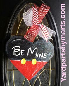 Valentine MICKEY heart door hanger VALENTINES by YardPartsByMarts, $30.00