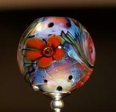 flower bead with dichroic handmade glass bead von CorneliaLentze, $28.00