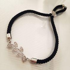 Čierny zirkónový náramok s lístočkami, MBZ013 Pandora Charms, Charmed, Bracelets, Jewelry, Jewerly, Jewlery, Schmuck, Jewels, Jewelery