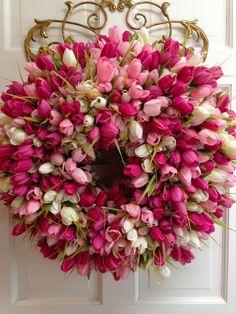 Pink Tulip Wreath - Pastel Color Mix - Spring Wreath, Easter Wreath, Mini-Tulip Wreath, Mother's Day Wreath, Pink Wreath, Summer Wreath on Etsy, $134.50