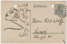 Else LASKER-SCHÜLER: Illustrierte Postkarte an Kurt WOLFF, 1914 (Kurt Wolff Archive, Beinecke Rare Books and Manuscript Library, Yale, New Haven)