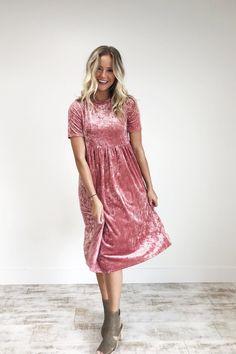 Pink Rose Velvet Dress   ROOLEE