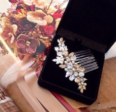 Golden shadow Swarovski stones , clear  and pearls hair comb