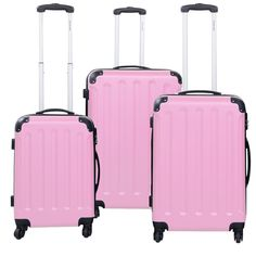 "- Ready To travel? This Blue 3-Piece Hard-Sided Luggage Set Is Perfect For You. - Get Your 3 Pcs Pink Luggage Set Today! - Trolley Cases Are 1×20"", 1×24"", 1×28"" - Very Limited Stock Available, They Wi"