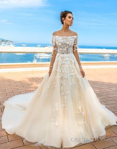 crystal design 2017 bridal long sleeves off the shoulder heavily embellished bodice romantic elegant ivory color a  line wedding dress lace back long train (brianne) mv
