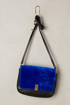 Finn Shearling Crossbody Bag - anthropologie-That blue is fantastic.