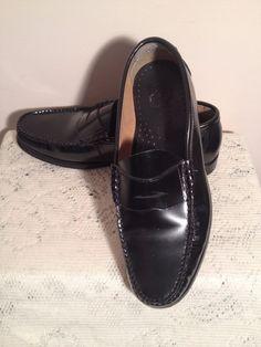 MENS FRENCH SHRINER BLACK LEATHER LENNOX PENNY LOAFER DRESS SHOE SIZE 11 M #FRENCHSHRINER #LoafersSlipOns