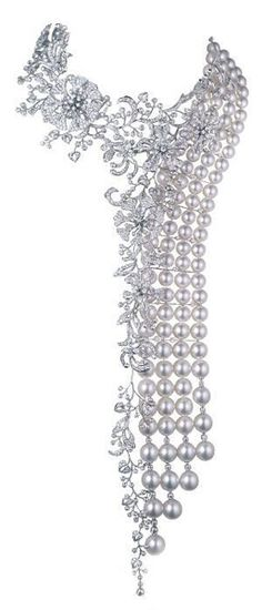 Mikimoto pearl and diamond necklace, Spectacular! (ok, it isn't Tiffany - but it would look GREAT with that ring :) jewelry jewelry jewelry diy jewelry accessories trends Jewelry High Jewelry, Pearl Jewelry, Jewelry Box, Jewelry Accessories, Vintage Jewelry, Jewelry Necklaces, Unique Jewelry, Golden Jewelry, Antique Jewellery
