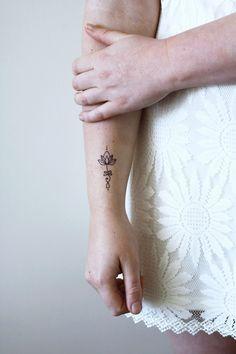 Unalome lotus temporary tattoo (set of 2) - a temporary tattoo by Tattoorary