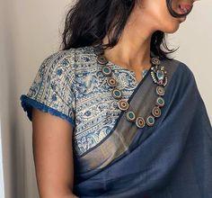 Blouses Uk, Cotton Blouses, Cotton Saree, Kalamkari Saree, Indian Silk Sarees, Saree Blouse, Blouse Neck, Blouse Designs, Blouse Patterns
