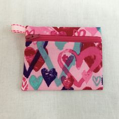 Pink Valentine Hearts Zipper Coin Purse, Credit Card Case, Earbud Pouch, iPod Pouch by NancyPKdesigns on Etsy