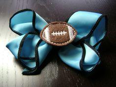Carolina Panthers / Jacksonville Jaguars Turquoise and Black Football Hair Bow