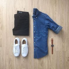 Black denim outfit grid