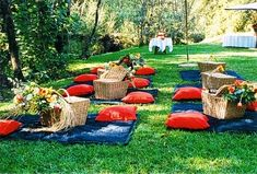 Picnic!! I love the baskets with flowers and pillows...you could stock up on diff size goodwill pillows and then slipcover them with the same fabric