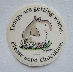 Desperate hippo message Sandra Boynton 80s vintage sticker