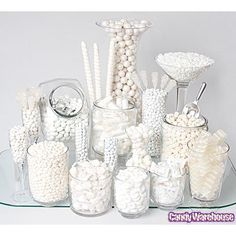 Need a candy buffet to spice up your wedding or holiday party but don't know where to start? Use Candy Warehouse's buffet builder to make your candy bar a hit! White Dessert Tables, White Buffet, White Desserts, Candy Buffet Tables, White Tables, Lolly Buffet, Dessert Buffet, Dessert Bars, Wedding Reception Ideas