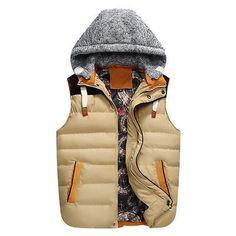 Men's Sleeveless Hooded Cotton Down Coat Casual Vest Jackets Outwear Waistcoat